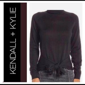 Kendall & Kylie Black Tie Waist Wool Top